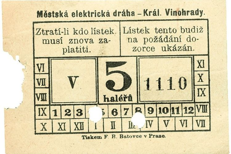 The historic tram ticket