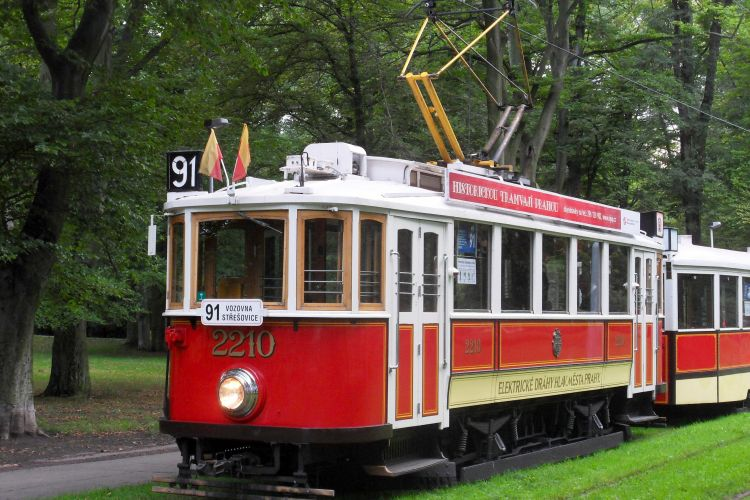 Historic tram with a towed car