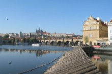 Panorama of Charles Bridge and museum of B. Smetana, Czech composer