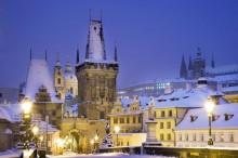 Malostranská mostecká věž v zimě